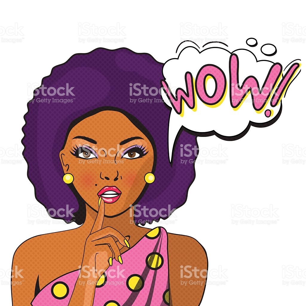 Wow Bubble Pop Art Negress On White Background stock vector art.