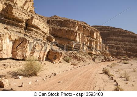 Stock Photography of Dirt Road In The Negev Desert.