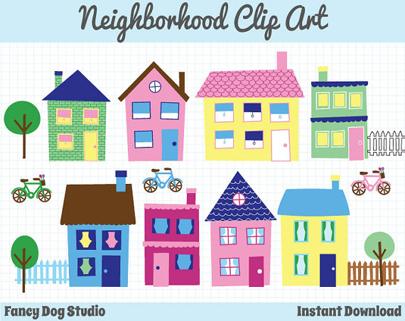 House Clip Art Neighborhood Clipart Town Clip Art Downloadable.