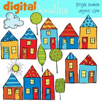 Bright Neighborhood Digital Clip Art.