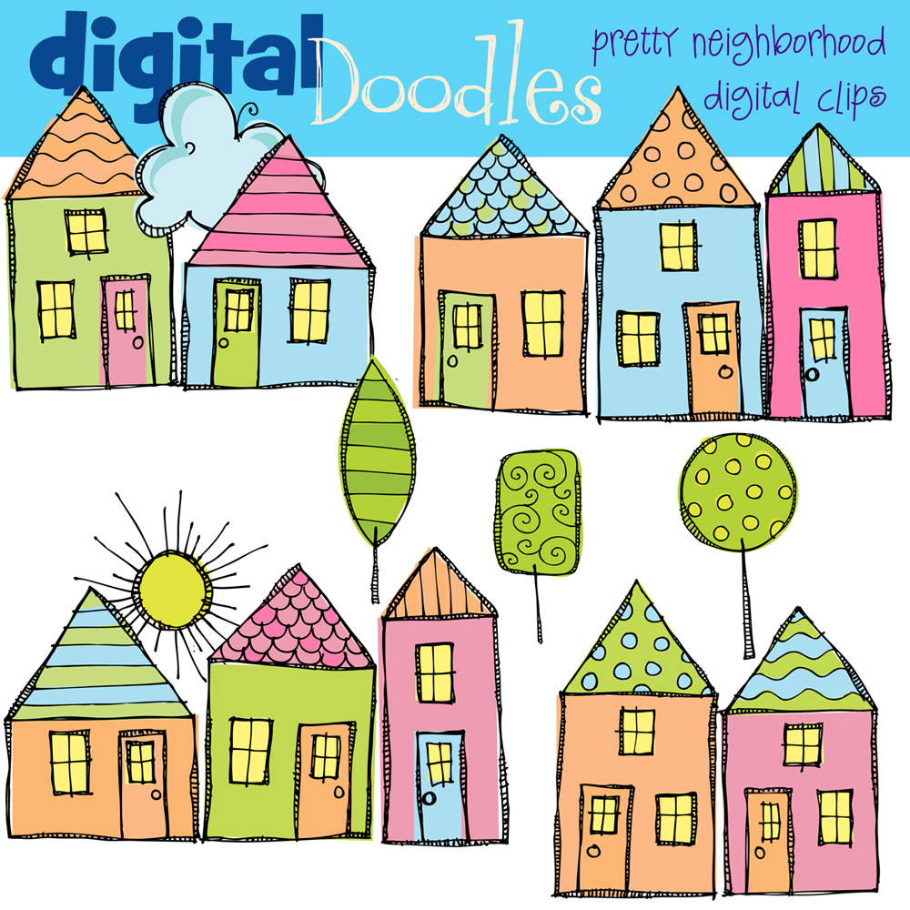 Bright Neighborhood Digital Clip Art.