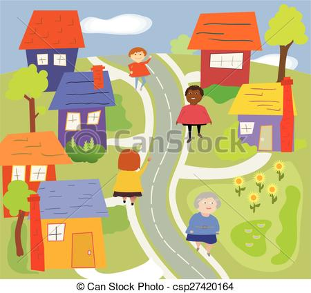 Clip Art Vector of Walking in the Neighborhood.