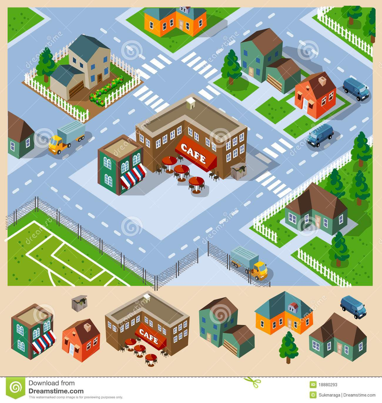 Cafe And Neighborhood Isometric Stock Vector.