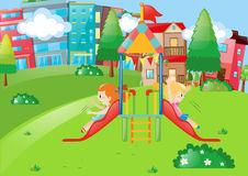 Neighborhood Park Playground Stock Illustrations.