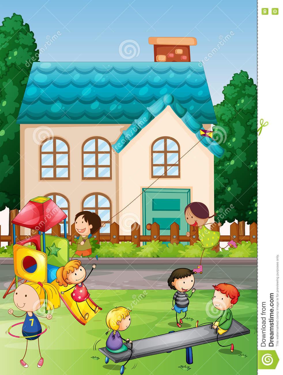 Children Playing In The Neighborhood Park Stock Vector.