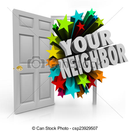 Stock Illustration of Your Neighbor Open Door Community Meet.