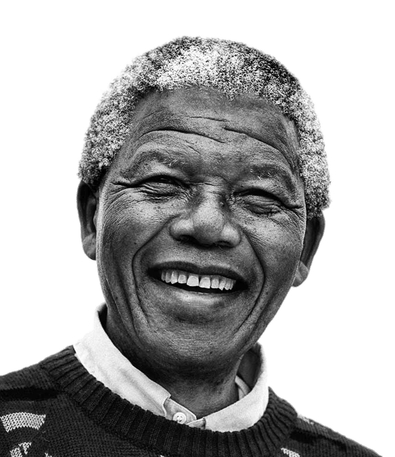 Nelson Mandela Black and White transparent PNG.