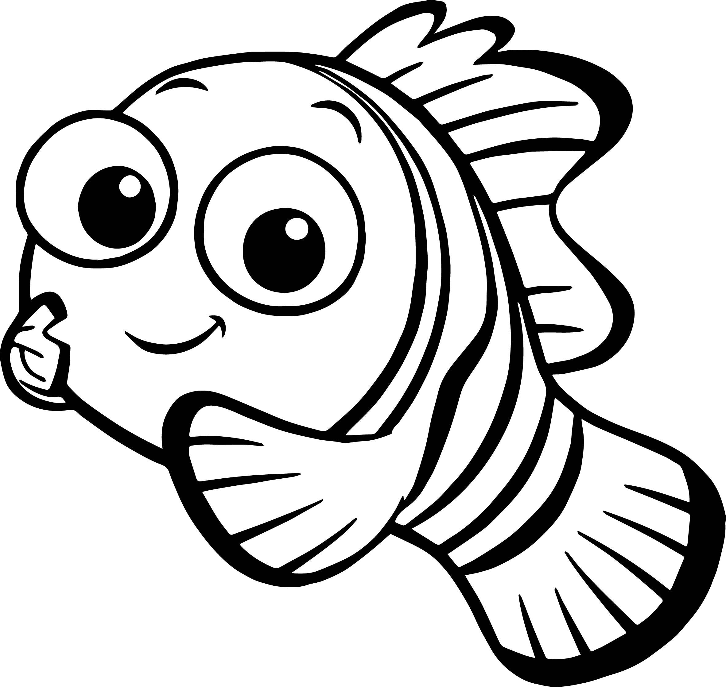 Disney Finding Nemo Fish Black And White Clipart.
