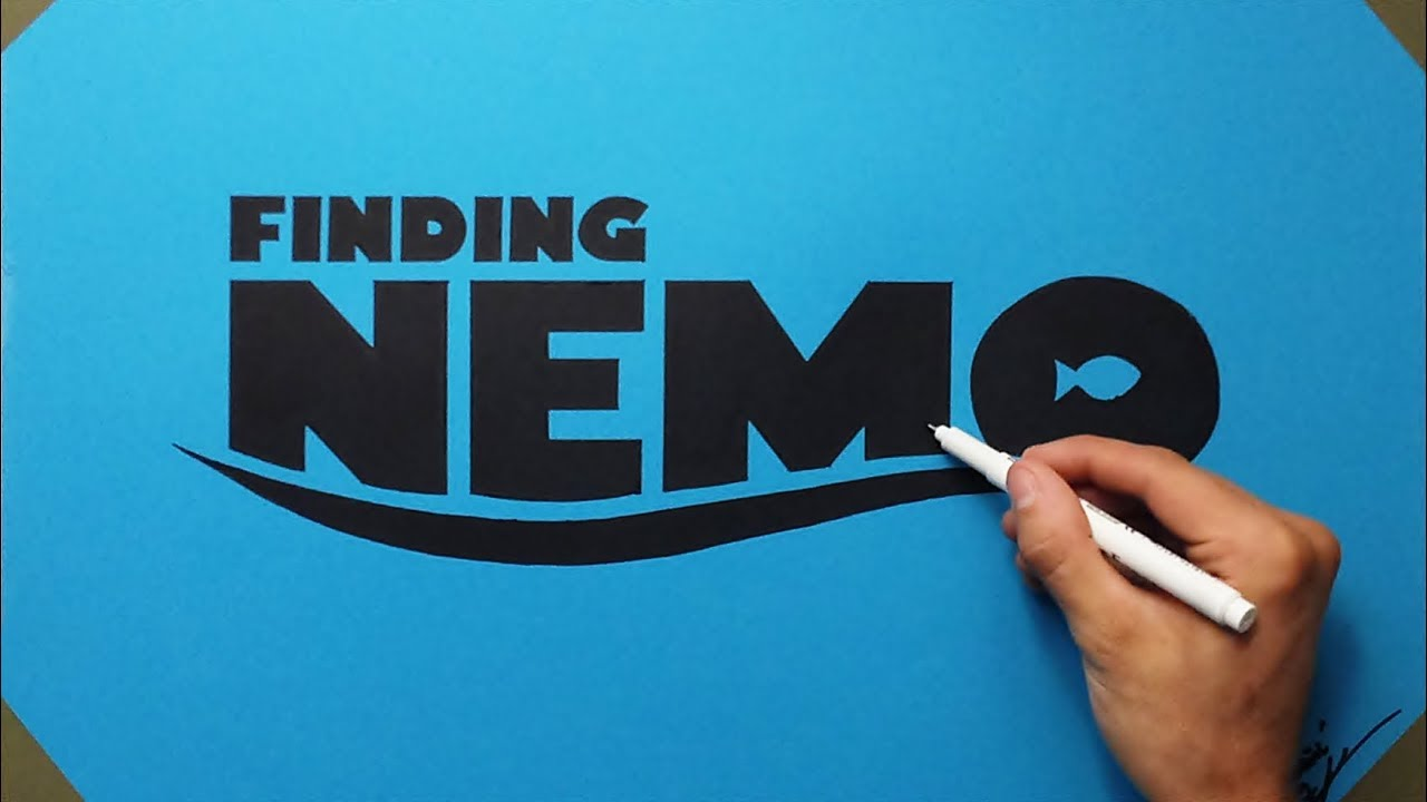 Finding Nemo Logo Drawing ( How To Draw ) FAN ART On Blue Paper.