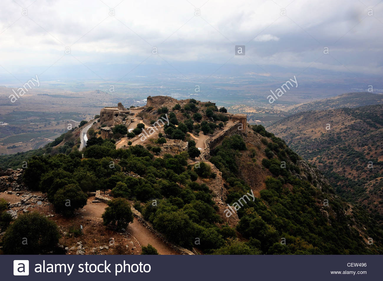View Of The Nimrod Fortress From Mount Hermon On The Golan Heights.