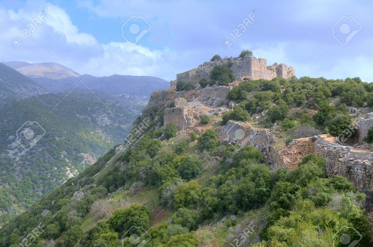 Ruins Of The Nimrod Fortress On The North Galilee , Israel Stock.