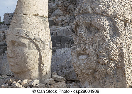 Stock Photography of Stone head statues at Nemrut Mountain in.