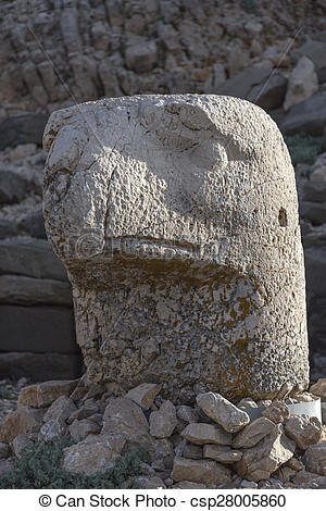Stock Image of Stone head statues at Nemrut Mountain in Turkey.