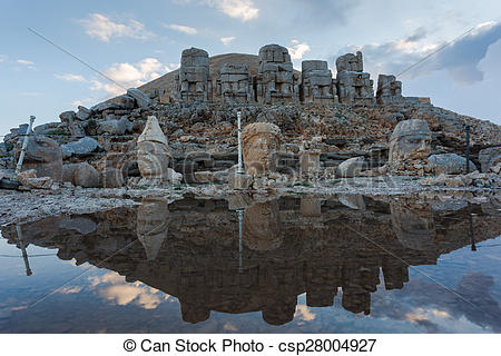 Stock Photo of Stone head statues at Nemrut Mountain in Turkey.