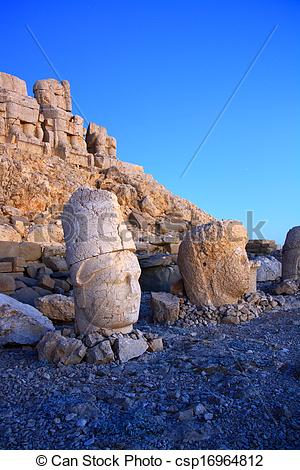Stock Photography of monument of gods on nemrut mountain.