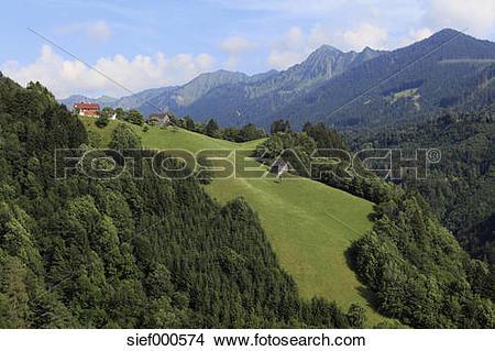 Stock Photo of Austria, Vorarlberg, Laterns, View of Laternser Tal.