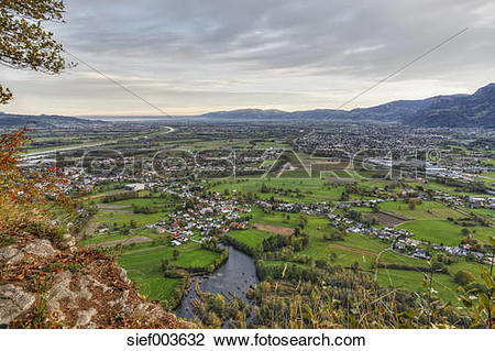 Stock Photo of Austria, Vorarlberg, View from Kummenberg mountain.
