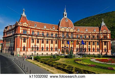 Stock Photo of Brasov, neobaroque administration palace. Romania.