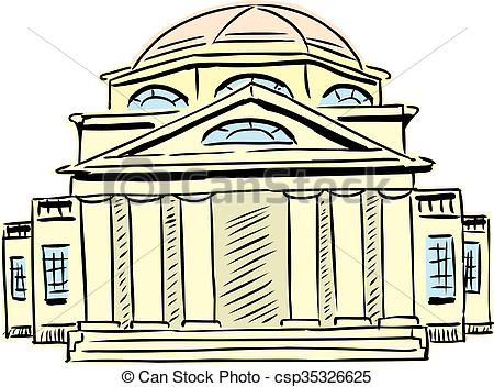 Clip Art of Neoclassical building with obscured doorway.