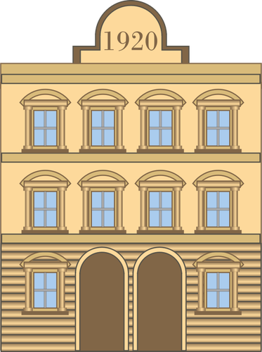 Vector graphics of 1920s neoclassical building.