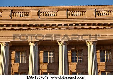 Stock Photograph of Late afternoon light on the neo classical.