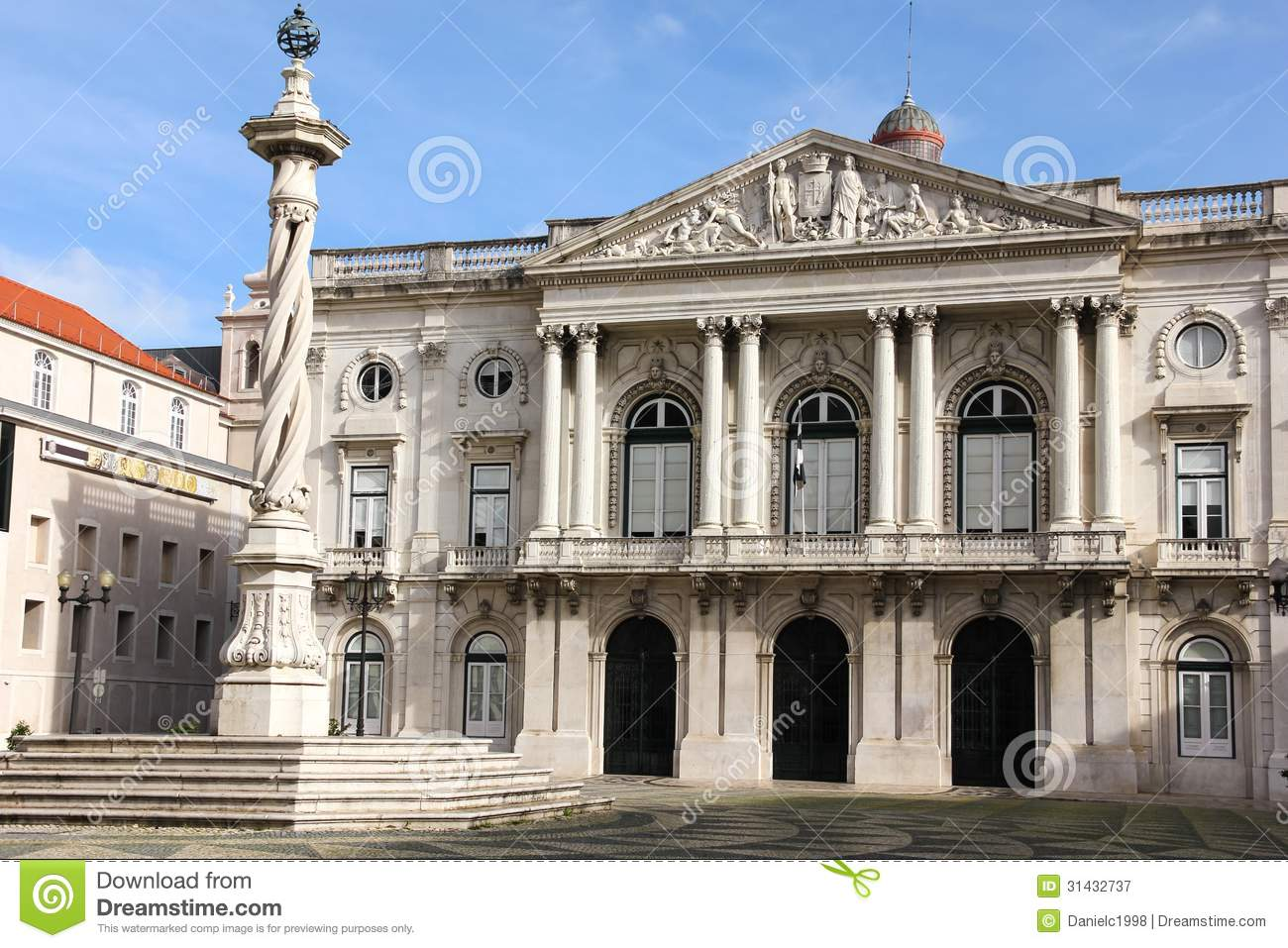 Neo Classical Facade. City Hall. Lisbon. Portugal Royalty Free.