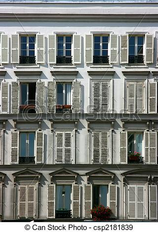 Stock Images of Neoclassical facade with balconies in a hotel.