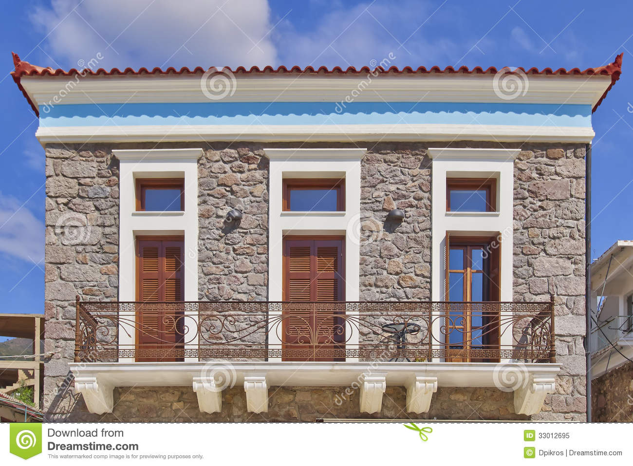 Neoclassical House Facade Royalty Free Stock Photo.