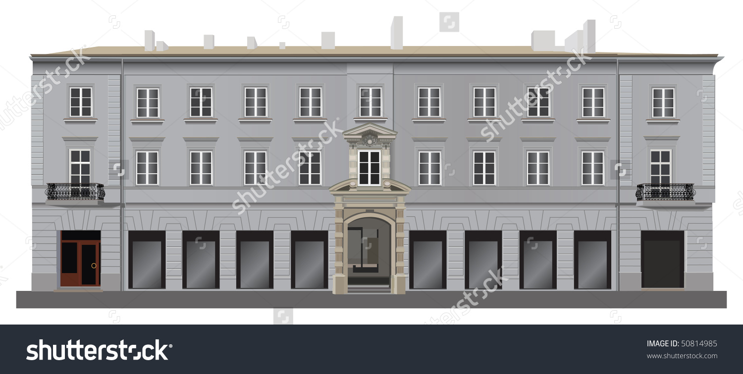 Neoclassical Renovated Building Facade Warsaw Famous Stock Vector.