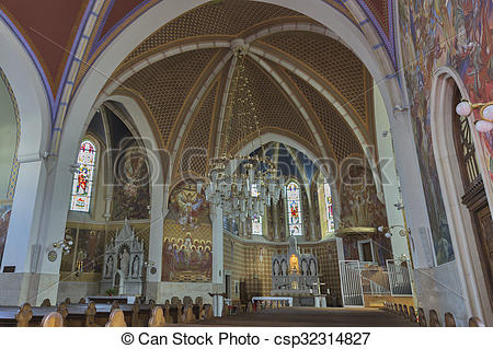 Stock Photo of Neo Gothic Church of Saint Martin interior in Bled.