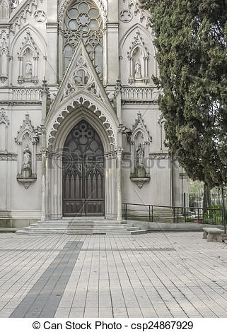 Stock Photo of Neo Gothic Style Chapel Entrance.