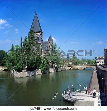 Stock Photography of moselle river and temple neuf neo.