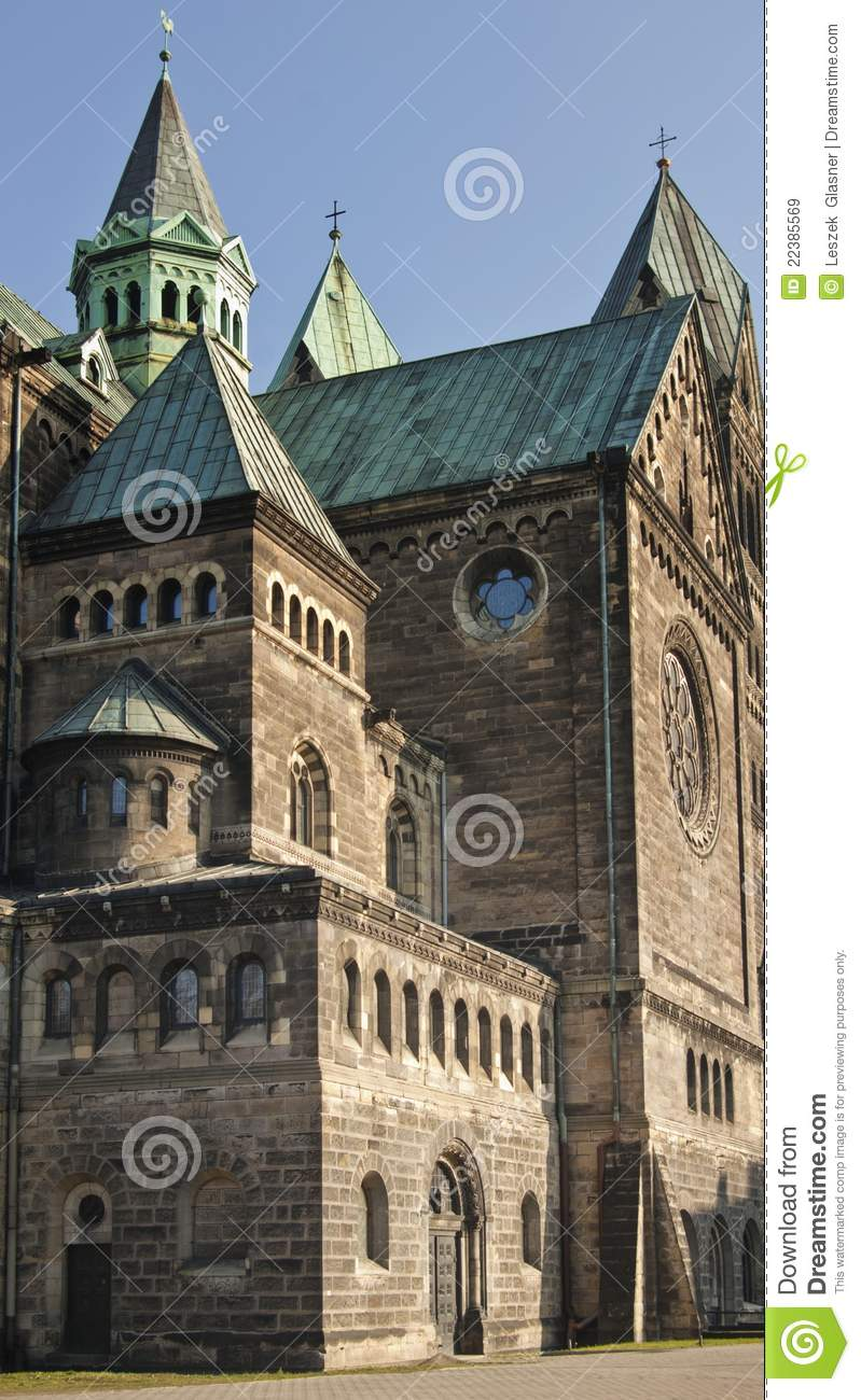 Neo Romanesque Cathedral, Detail Royalty Free Stock Images.