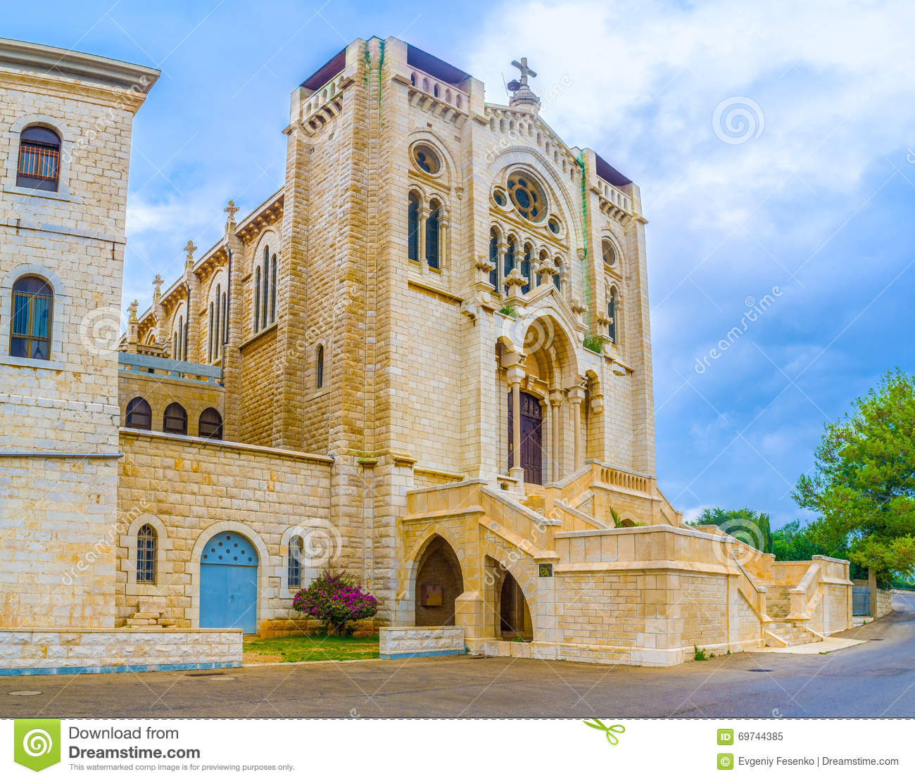 The Church In Neo Romanesque Style Stock Photo.