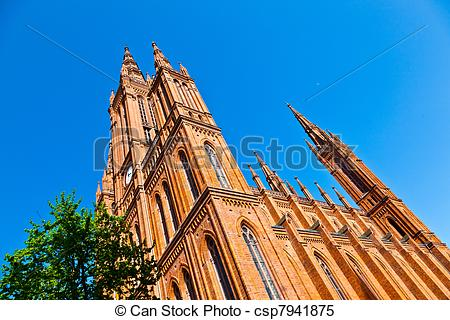 Stock Images of famous Markt Kirche in Wiesbaden, a brick building.