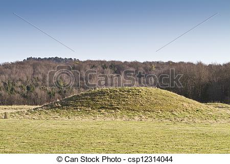 Drawing of Neolithic burial mound, Cranborne Chase, England.