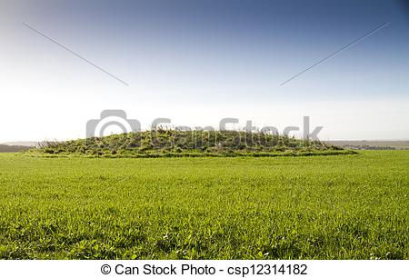 Stock Illustration of Neolithic burial mound, Cranborne Chase.