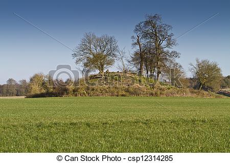 Stock Illustration of Tree covered neolithic burial mound, Dorset.