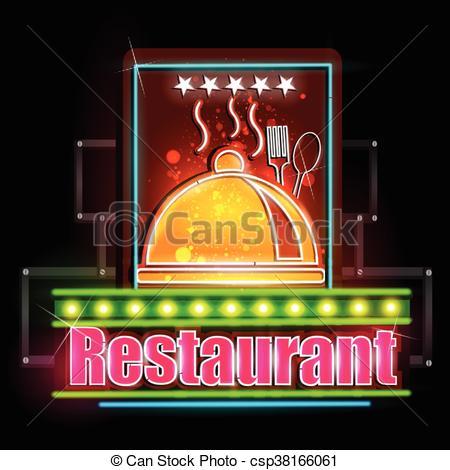 Clip Art Vector of Neon Light signboard for Restaurant.