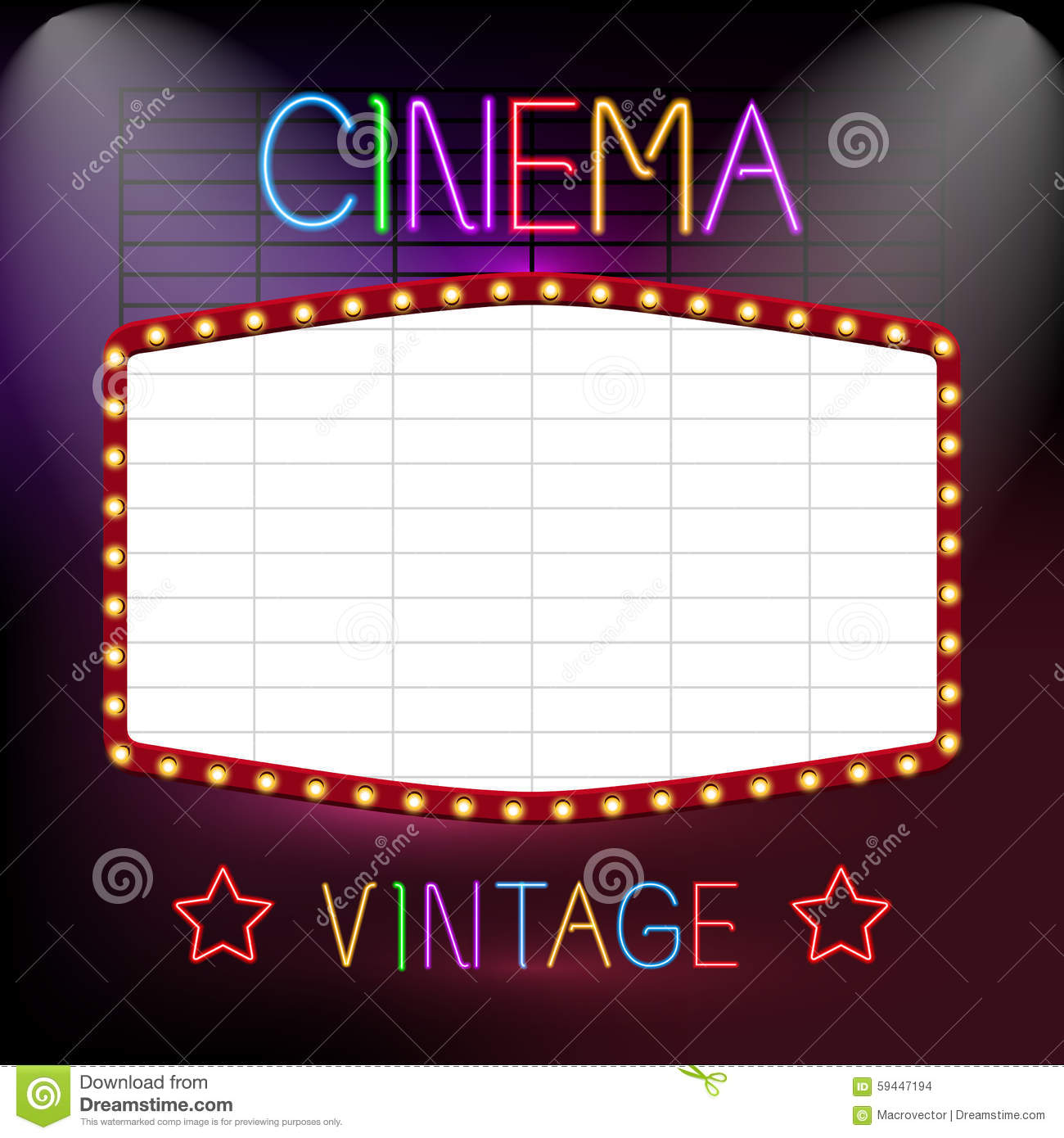 Cinema Neon Sign Stock Vector.