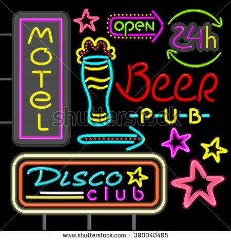 Neon Beer Sign Stock Photos, Royalty.