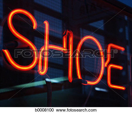 Stock Photography of neon, word, sign, shoe, advertising b0008100.