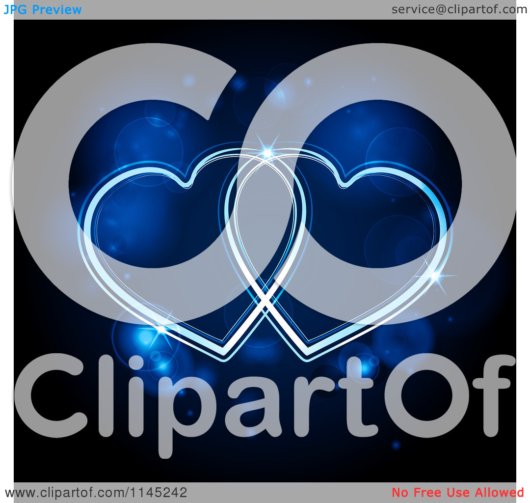 Clipart of Neon Blue Hearts Glowing over Flares.