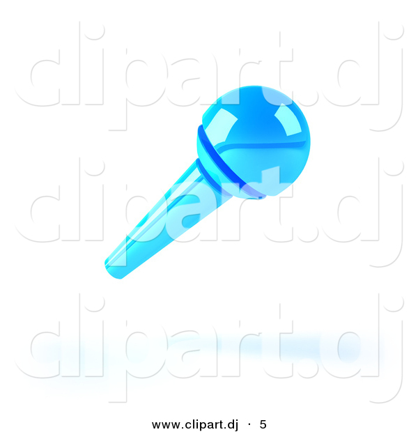 3d Vector Clipart of a Neon Blue Microphone by Julos.
