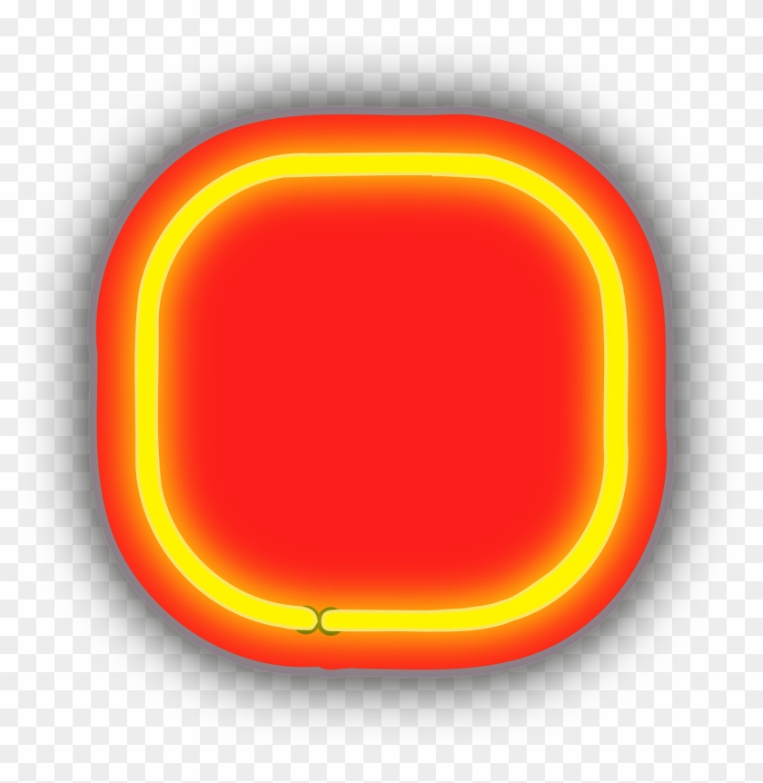 Neon Box Rounded Glow Png Image.