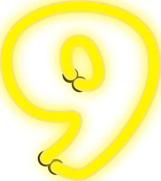 Neon Numerals With Number 9 clip art Free vector in Open office.