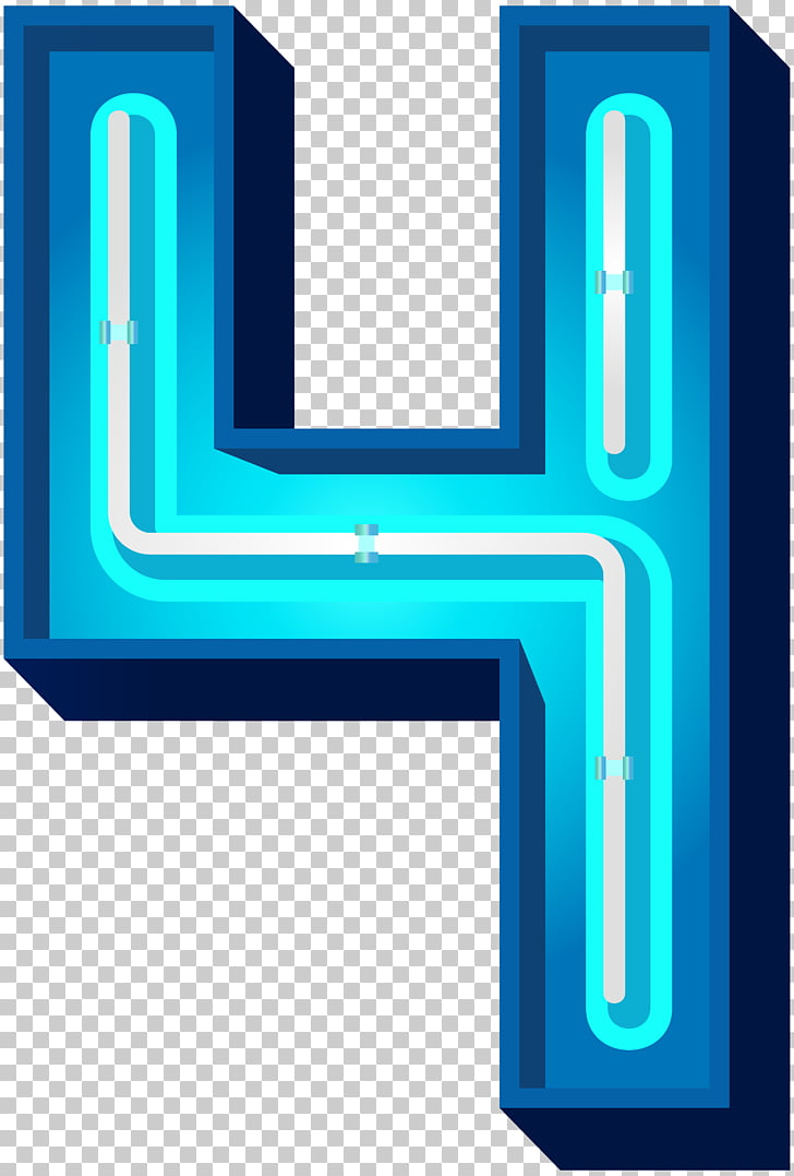 Blue , Number Four Blue Neon PNG clipart.