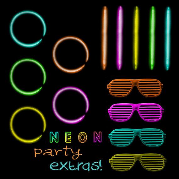80s Neon Party Digital Clip Art Hot Neon Colors Glow Sticks.