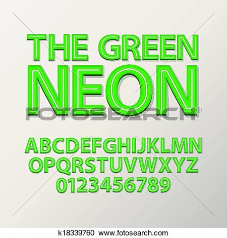 Clipart of Abstract Green Neon Font and Number k18339760.