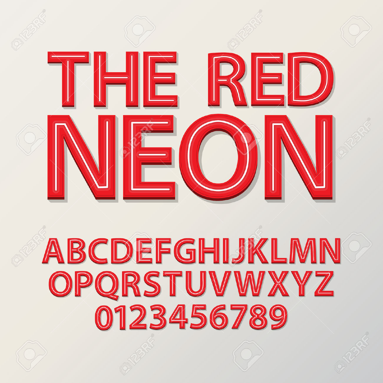 Abstract Red Neon Font And Numbers, Eps 10 Vector Royalty Free.